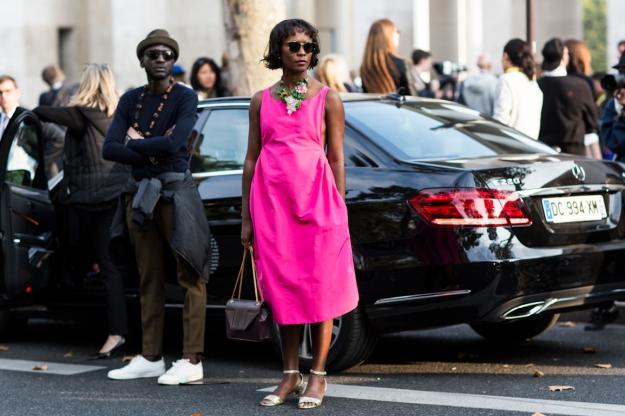 Paris Fashionweek ss2015 day 1, outside Rochas, shala monroque